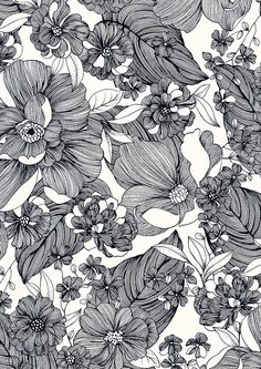 floral pattern black and white & floral pattern ` floral pattern design ` floral pattern vintage ` floral pattern illustration ` floral pattern wallpaper ` floral pattern drawing ` floral pattern black and white ` floral pattern vector Motifs Textiles, Textile Patterns, Flower Patterns, Pattern Flower, Flower Pattern Drawing, Zentangle Patterns, Textile Design, Surface Pattern Design, Pattern Art