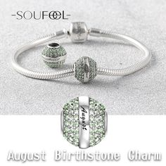 August Birthstone Charms, Swarovski Elements Charm, Best Birthday Gifts. Soufeel Jewelry, For Every Memorable Day!