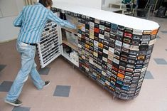 Great idea to recycle all your old tapes for a unique furniture. #Design, #Recycled, #Tape #RecycledFurniture
