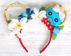 """Lilo and Stitch/ Minnie Ears/ Scrump Headband/ Ohana Hawaii Minnie Ears """"Ohana means family. Family means nobody gets left behind or forgotten."""" These adorable bamboo ears are so comfortable and lightweight Disney Ears Headband, Diy Disney Ears, Disney Minnie Mouse Ears, Disney Headbands, Disney Diy, Disney Crafts, Disney Stuff, Disney Ideas, Stitch Ears"""