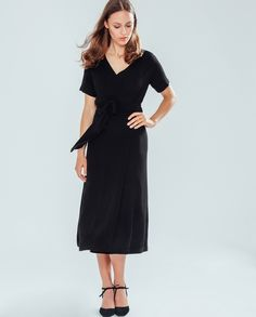 Wrap Dress kneelength - black - IVY & OAK