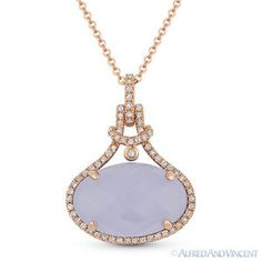 The featured pendant is cast in 14k rose gold and showcases a finely crafted halo setting set with a checkerboard oval cut chalcedony center stone accentuated by round brilliant cut diamonds around the gem and all the way up to the bale