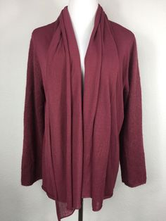 7d70bdf742 J Jill Maroon Open Front Draped Cardigan Alpaca Blend Sleeves Size XL K4