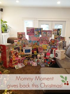 One way that Mommy Moment Gives Back is to donate gifts to local charities. These charities help provide Christmas gifts for those families who can't afford gifts for Christmas.