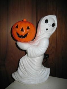 Vintage Halloween Blow Mold ~ Ghost w/ Pumpkin