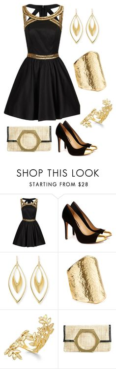 """Sequinned-n-Gold"" by stacylynnwill ❤ liked on Polyvore featuring Chi Chi, Sole Society, Alexis Bittar, Kenneth Jay Lane, Bar III and Jonathan Adler"