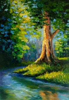 River Painting, Forest Painting, Oil Painting Trees, Nature Oil Painting, Painting Art, Painting Clouds, Forest Art, Painting Flowers, Painting Videos