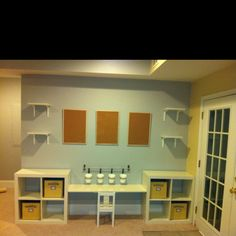 Sneak peak at our new playroom/ family room... So excited! We've found some great deals at IKEA and got a little creative... The desk top cost $1.90... The wall shelves $1.40 each and the cork boards, containers and floor shelves were great prices too! So blessed to have an amazing husband to help bring my crazy ideas to life!