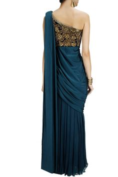 Blue embroidered draped sari gown by Chhavvi Aggarwal Dress Indian Style, Indian Dresses, Indian Wedding Outfits, Indian Outfits, Indian Designer Outfits, Designer Dresses, Party Wear Dresses, Party Outfits, Party Gowns