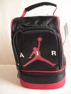 740e43ef33cf67 NIKE AIR JORDAN INSULATED DOME 2-PART LUNCH TOTE BAG BOX Black Red with  Zipper