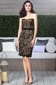 49.49$  Buy here - http://vidvf.justgood.pw/vig/item.php?t=ny80d624327 - Dessy 2911......Cocktail Length Satin Lace Dress....Cappuccino / Black....Sz 16 49.49$