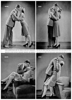 How to Kiss 1942. The bottom left is hilarious! Why on earth would anyone kiss like that! Lol