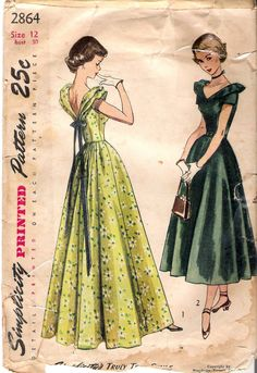 Vintage 1949 Simplicity 2864 Dress in Daytime & Evening Lengths Sewing Pattern.  Teen Age One-Piece Dress in Daytime and Evening Lengths: The