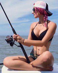 Fishing girls - sea fishing - I am fishing from the boat with my fishing rod, Fishing Girls, Sea Fishing, Fishing Rod, Bow Hunting Women, Bikini Ready, Thing 1, Country Girls, Bikinis, Sexy
