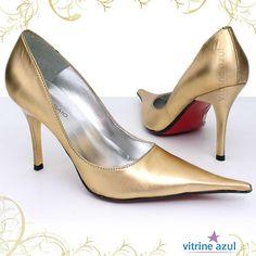 sapatos scarpin dourado 3