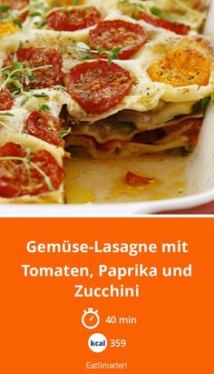 Gemüse-Lasagne mit Tomaten, Paprika und Zucchini Vegetable lasagna with tomatoes, peppers and zucchini – smarter – calories: 359 kcal – time: 40 min. Tomate Zucchini, Zucchini Vegetable, Zucchini Lasagne, Vegetable Lasagne, Vegetable Recipes, How To Cook Cauliflower, Cauliflower Recipes, Pasta Tomate, Okra And Tomatoes