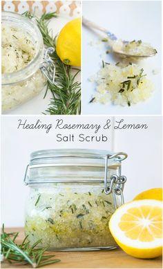 DIY Healing Rosemary & Lemon Salt Scrub | Budget Home Remedies - www.farmpretty.com