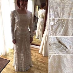 Would you consider wearing an antique wedding dress?  This beautiful bride sure did for her wedding at Gretna Green   Lesley took in the sleeves at the shoulders changed the old fashioned hooks for a modern discreet invisible zip and matched the silk and changed the satin band at the waist to give it a fresh new look.  This beautiful gown is over 100 years old!!   We can expertly and sympathetically restore antique/vintage gowns to your exact requirements.   So is this a good way to be more… Antique Wedding Dresses, Vintage Gowns, Beautiful Gowns, Beautiful Bride, Gretna Green, Dressmaker, Dream Dress, Restore, Dress For You