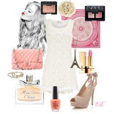 White dress, pink accessories