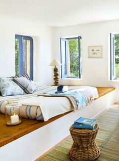 Driftwood Lamps in an Island Home: http://beachblissliving.com/mediterranean-island-vacation-home/