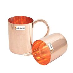 Buy Prisha Pure Copper Mugs for Cocktails/Handmade Leak Proof Copper Vessel with Lacquered Finish for Drinking Water/ Joint Free Moscow Mules with Ayurvedic Health Benefits, 18 Ounce, Set of 2 Copper Vessel, Copper Mugs, Pure Copper, Moscow Mule Mugs, 100 Pure, Drinking Water, Health Benefits, The 100, Cocktails
