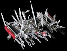 "Holy Moses...85-in-1 Swiss Army Knife. It needs to be on wheels! - ""This is cheating!"" -MacGyver"