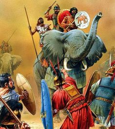 Carthaginian elephants in action, 2nd Punic War