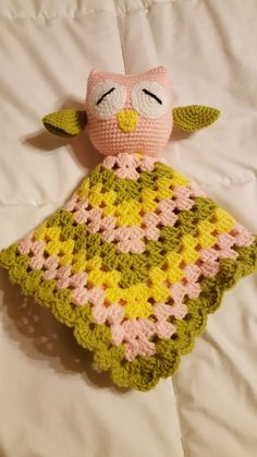Crochet owl snuggle blanket lovey