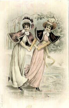 Antique French postcard of 2 female skaters Vintage Christmas Images, Vintage Images, People Illustration, Illustrations, Christmas Scenes, Christmas Art, Skating Pictures, New Year Postcard, Fabric Postcards