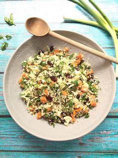 Sweet Potato and Cauliflower Tabbouleh via MealMakeoverMoms.com/kitchen #GlutenFree #Vegan