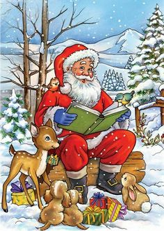 Santa Claus reading a Christmas story to his forest animal friends Funny Christmas Cards, Christmas Scenes, Christmas Animals, Merry Christmas And Happy New Year, Christmas Books, Retro Christmas, Christmas Pictures, Christmas Snowman, Christmas Greetings