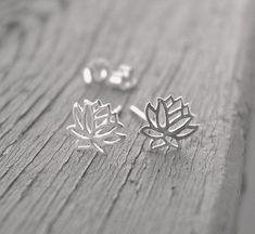 Lotus flower stud earrings sterling silver by Hellomyflower, $22.99 #silverstudearrings