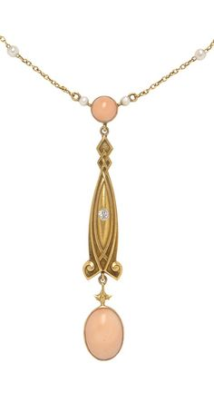 Beautiful and very delicate Art Nuevo coraL and diamond pendant