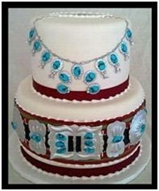 "2 tier Jewelry Cake  6""-8"" Rounds   Serves 40   $215"