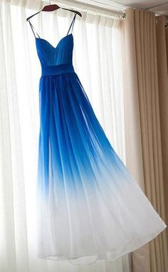 Royal Blue White Ombre Long Bridesmaid Dress,A-line Sweetheart Chiffon Prom Dresses UK,#ombre,#bridesmaiddressesuk,#promdressesuk,#blue,#elegant,#white
