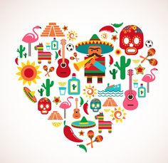 Mexico love - heart with set of vector illustrations. Free art print of Mexico love - heart with set of vector icons. Mexico Country, Mexican Independence Day, Mein Land, Mexican Designs, Mexican American, Mexican Party, Thinking Day, Love Heart, Vector Art