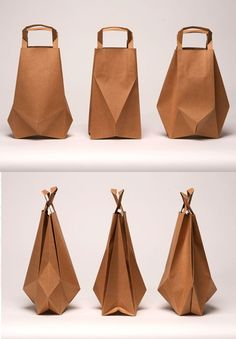 """designer ilvy jacobs: """"These bags give a new view on everyday luxury and creates a new silhouette for the well known paper bag. Cool Packaging, Luxury Packaging, Paper Packaging, Packaging Design, Flower Packaging, Sac Lunch, Paper Bag Design, Origami Bag, Origami Paper"""