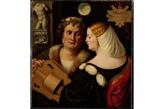 Giovanni Busi, Poet playing a Hurdy- Gurdy with a young woman, c1520