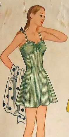 Vintage 40's One Piece Skirted Swimsuit and Beach Coat Sewing Pattern