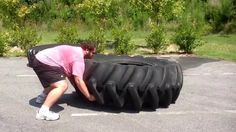 Jared flipping 700lb tractor tire! New PR for this summer! #woodallsfitness