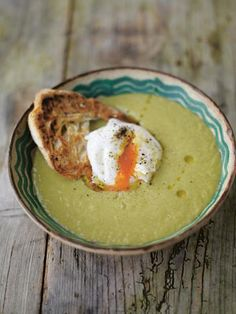 A fantastically simple asparagus soup, pureéd till its silky smooth, is always a winner. Delicious eaten hot (or cold on really hot days with the help of a little lemon juice). The poached egg on toast makes it for me, but of course you dont have to serve the soup with them. I usually poach a couple more eggs than I need in case of breakages in the pan! Ive made this for eight, but feel free to halve quantities or freeze soup leftovers.