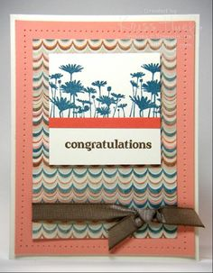 Rich color combo from Venetian Romance designer paper - http://stampwithkriss.com/cantaloupe-congrats