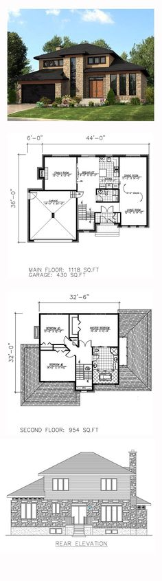 Modern House Plan 50323 | Total Living Area: 2072 sq. ft., 3 bedrooms and 1.5 bathrooms. #modernhome