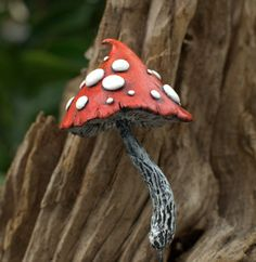 Red white Amanita fantasy mushroom ,polymer clay toadstool Home decor,Fairy Garden