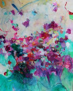 Abstrait peinture Original grande toile Roses vertes rouges « azalées »