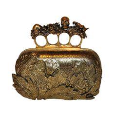 """Alexander McQueen Bronze textured """"Leaf"""" motif clutch #1stdibs #industrial"""