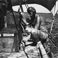 Thor Heyerdahl making the water rations for the day. The Kon Tiki carried only 1000 liters of drinking water  for 6 people and four months. Part of it was stored in jerricans, the other part was in hollow bamboo cans under the deck.