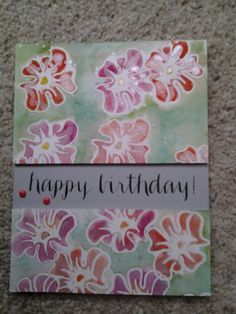 Altenew Whimsical Flowers embossed, watercoloured, ironed and Perfect Pearled. SSS Sentiment.