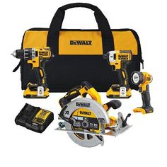 "DEWALT DCK483D2 20V Max XR Brushless COMPACT 4-Tool Combo Kit  Dcd791 - 20V max* XR Brushless compact 1/2"" drill/driver: 20 times brighter than previous model, and has a compact, lightweight design that fits into tight areasDcf887 - 20V max* XR Brushless compact 1/4"" impact driver: 3-speed settings for optimized versatility, precision drive in speed 1 for added controlDcs570 - 20V max* XR Brushless 7-1/4"" circular saw: 7-1/4'' blade capacity for versatility  http://industrialsupp.."