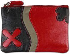 Schöne Schlüsseltasche,  Koffer, Rucksäcke & Taschen, Zubehör, Schlüsselmäppchen, Damen Zip Around Wallet, Pocket Wallet, Red Black, Kite, Handbags, Leather
